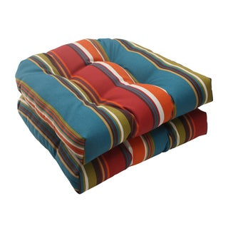 Pillow Perfect Westport Polyester Teal Tufted Wicker Outdoor Seat Cushions (Set of 2)