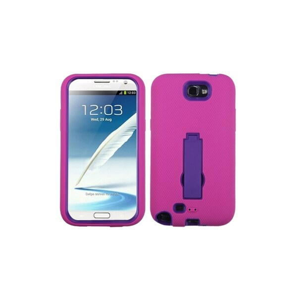 INSTEN Purple Pink Gel Hybrid Stand Phone Case Cover for Samsung Galaxy Note 2