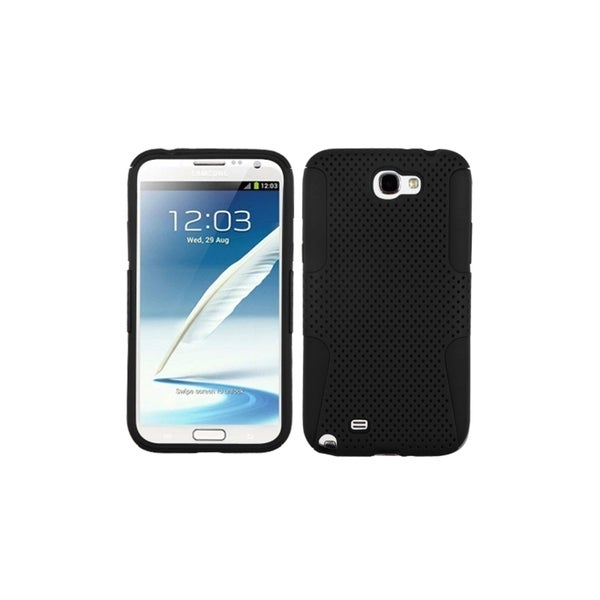 INSTEN Mesh Hole Hybrid Soft Black Phone Case Cover for Samsung Galaxy Note 2