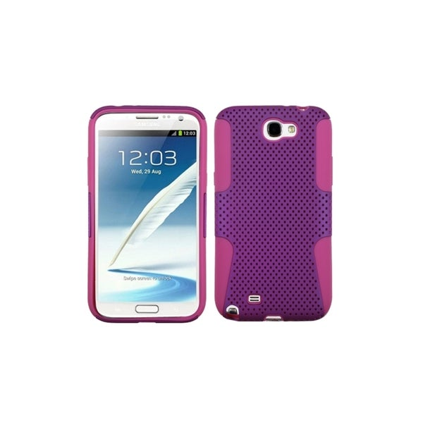 INSTEN Purple Mesh Pink Hybrid Hard Plastic Phone Case Cover for Samsung Galaxy Note 2