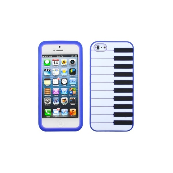 INSTEN Dark Blue Piano Keys Silicone Gel Soft Phone Case Cover for Apple iPhone 5