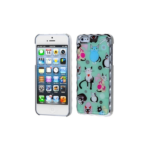 INSTEN Cute Cat Silver Plating Alloy Hard Plastic Phone Case Cover for Apple iPhone 5