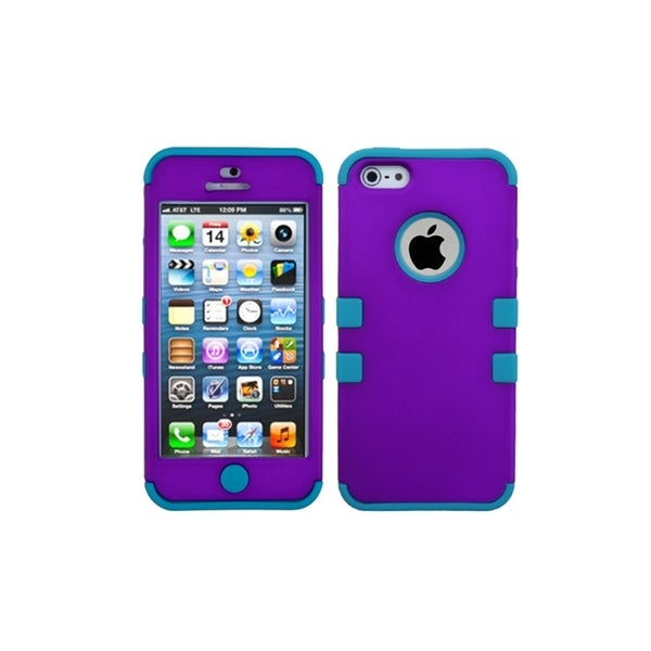 INSTEN Grape/ Tropical Teal TUFF Hybrid Phone Case Cover for Apple iPhone 5