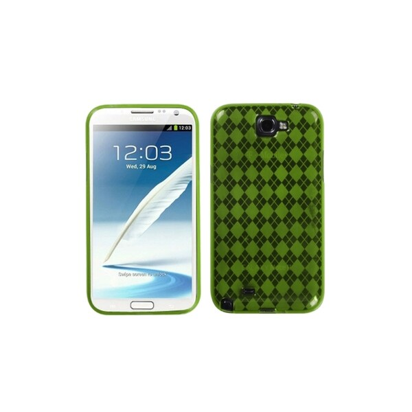 INSTEN Green Argyle Gel TPU Case Cover Checks Skin for Samsung Galaxy Note 2