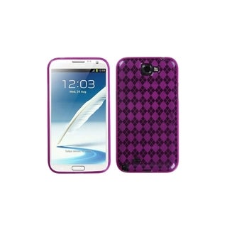 INSTEN Pink Argyle Gel TPU Phone Case Cover Checks Cover for Samsung Galaxy Note 2
