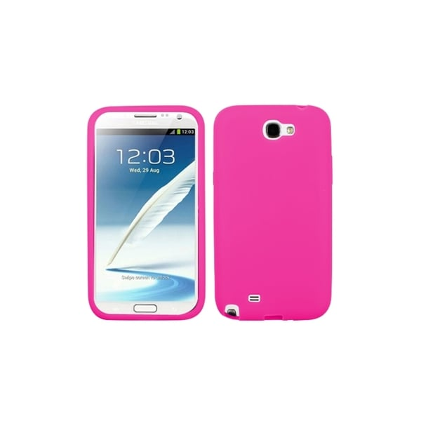 INSTEN Hot Pink Silicone Soft Gel Phone Case Cover for Samsung Galaxy Note 2