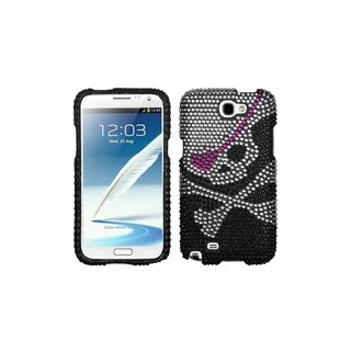 INSTEN White Black Diamond Bling Skull Case Cover for Samsung Galaxy Note 2