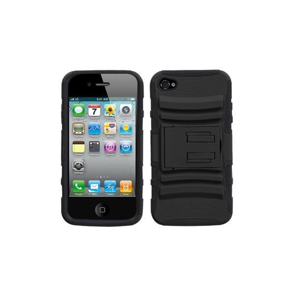 INSTEN Black Advanced Armor Stand Phone Case Cover for Apple iPhone 4S/ 4