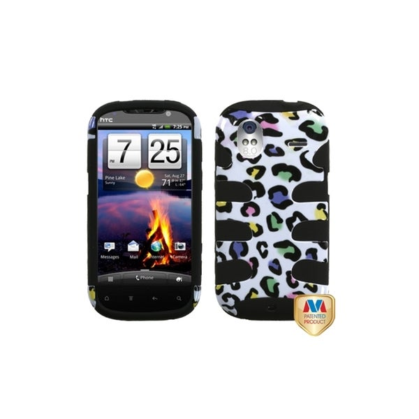 INSTEN Colorful Leopard/ Black Fishbone Phone Case Cover for HTC Amaze 4G
