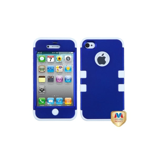 INSTEN Titanium Blue/ White TUFF Hybrid Phone Case Cover for Apple iPhone 4/ 4S