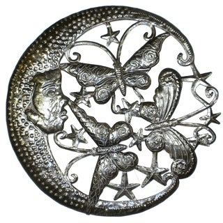 Handmade 'Moon and Butterfly' 24-inch Metal Wall Art