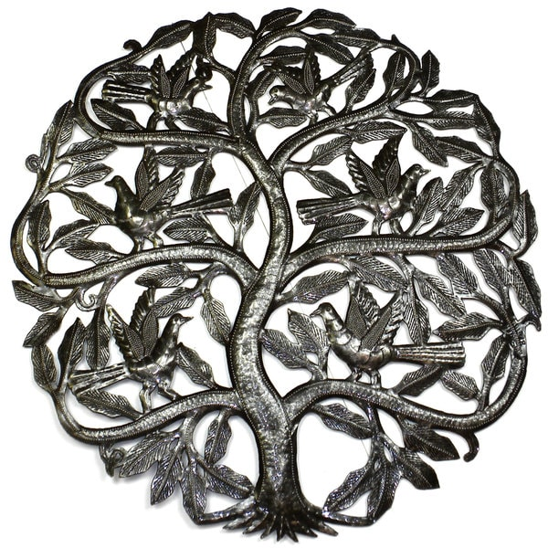 Handmade 'Tree of Life Birds Ready to Fly' 24-inch Wall Art  , Handmade in Haiti