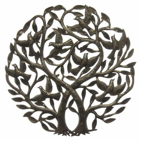 Handmade 'Double Tree of Life' Metal Wall Art 24-inch (Haiti)
