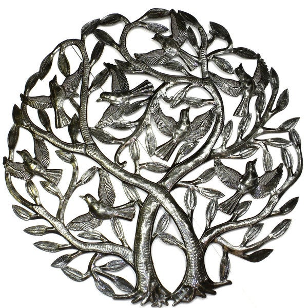 Shop Handmade \'Double Tree of Life\' Metal Wall Art 24-inch (Haiti ...