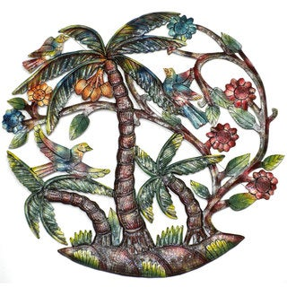 Handmade 'Colorful Palm Tree' 24-inch Wall Art , Handmade in Haiti