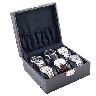 Caddy Bay Collection Compact 6-Watch Display Storage Case