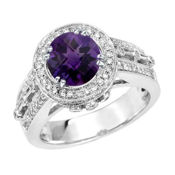 14k White Gold Amethyst and 3/5ct TDW Diamond Ring (G, SI1)