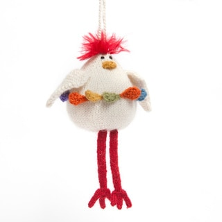 Handmade Alpaca Wool Chicken Ornament (Peru)
