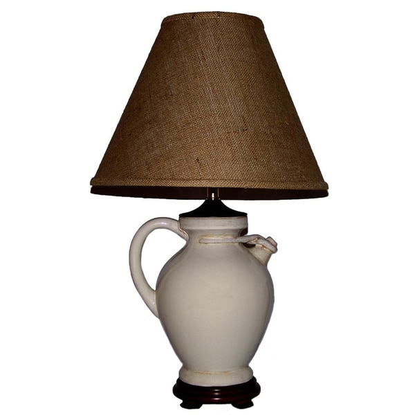 Crown Lighting 1-light Aged White with Tan Over Wash Jug Table Lamp