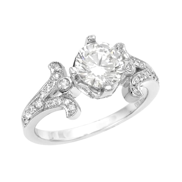 Silver Moissanite/ CZ and 1/4ct TDW Diamond Engagement Ring (G, SI1)
