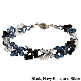Stainless Steel Button Colorful Butterfly Design Crystal Bracelet
