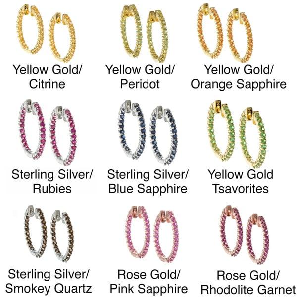 Beverly Hills Charm Sterling Silver and Genuine Gemstones Inside-out Hoop Earrings