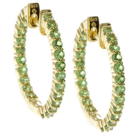Sterling Silver and Genuine Gemstones Inside-out Hoop Earrings