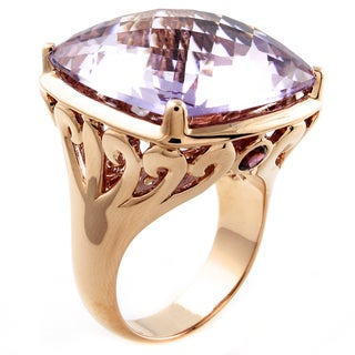Beverly Hills Charm 14k Gold 11 1/2ct TGW Amethyst and Rhodolite Ring