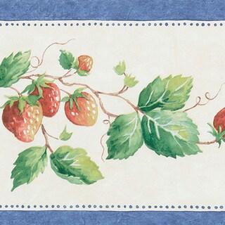 Blue Strawberry Border Wallpaper