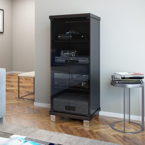 Porch & Den Elizabethton Holland 20-wide Ravenwood Black and Glass Component Stand