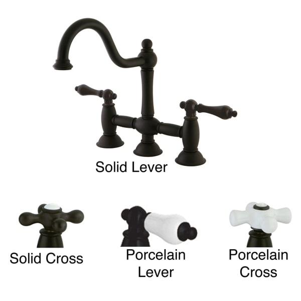 Victorian High Spout Oil Rubbed Bronze Bridge Kitchen Faucet