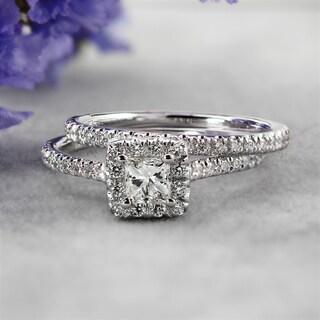 Auriya 14k Gold 1ctw Princess-cut Halo Diamond Engagement Ring Set