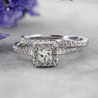 Auriya 14k Gold 1ct TDW Certified Princess Diamond Halo Bridal Ring Set (H-I, SI1-SI2)