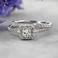 Auriya 14k Gold 1ct TDW Certified Princess-Cut Diamond Halo Engagement Ring Set