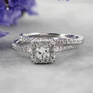 Auriya 14k Gold 1 carat TW Princess-cut Halo Diamond Engagement Ring Set