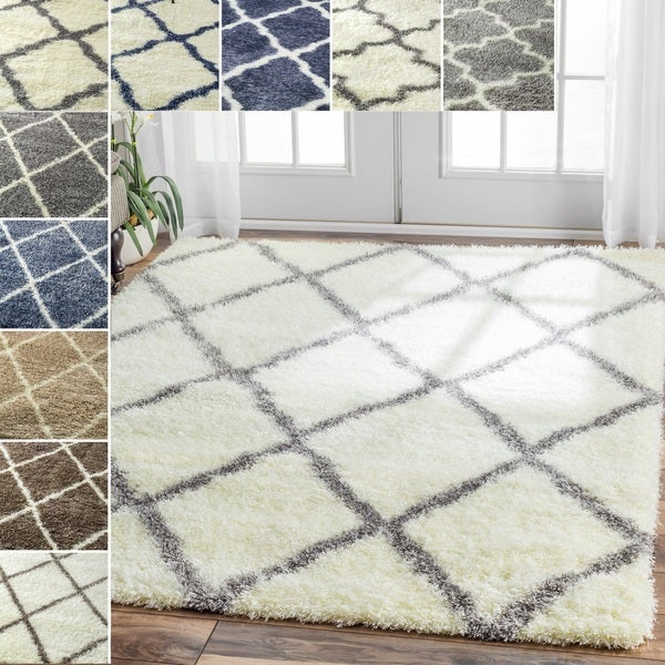 nuLOOM Soft and Plush Moroccan Trellis or Diamond Shag Rug (8' x 10')
