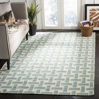 Safavieh Hand-woven Moroccan Reversible Dhurrie Turquoise Wool Rug (3' x 5')