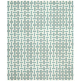 Safavieh Handwoven Moroccan Reversible Dhurrie Turquoise Wool Geometric Rug (8' x 10')
