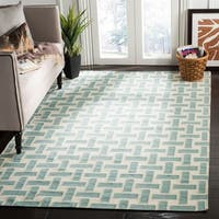 Safavieh Handwoven Moroccan Reversible Dhurrie Turquoise Wool Geometric Rug - 8' x 10'