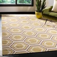 Safavieh Hand-woven Moroccan Reversible Dhurrie Ivory Wool Rug - 6' Square