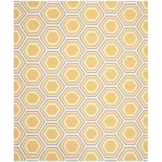 Safavieh Handwoven Moroccan Reversible Dhurrie Ivory/ Yellow Geometric Wool Rug (8' x 10')