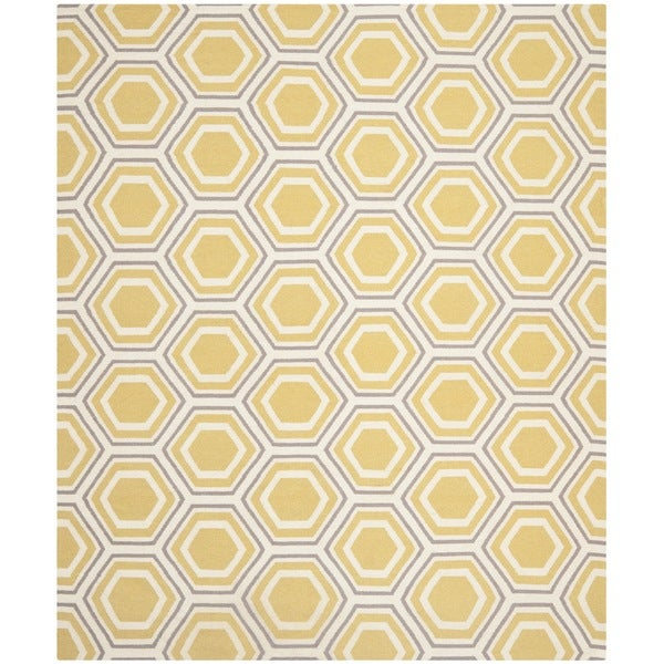 Safavieh Handwoven Moroccan Reversible Dhurrie Ivory/ Yellow Geometric Wool Rug - 8' x 10'