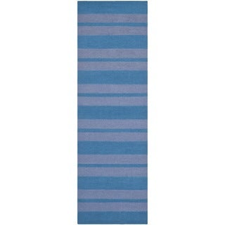 Safavieh Handwoven Moroccan Reversible Dhurrie Turquoise Wool Area Rug (2'6 x 8')