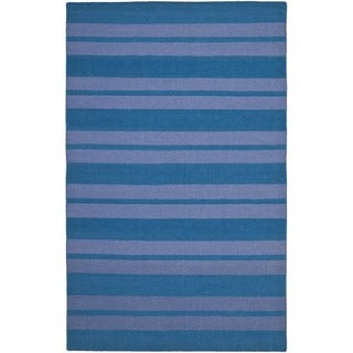 Safavieh Hand-woven Moroccan Reversible Dhurrie Turquoise Wool Rug (5' x 8')