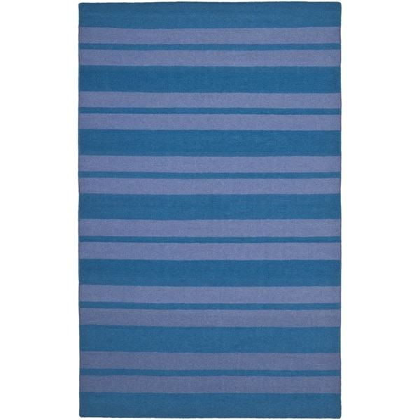 Safavieh Hand-woven Moroccan Reversible Dhurrie Turquoise Wool Rug - 8' x 10'