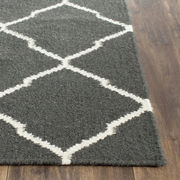 Hand Woven Contemporary Moroccan Trellis Geometric: Safavieh Hand-woven Moroccan Reversible Dhurrie Charcoal