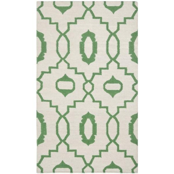 Safavieh Hand-woven Moroccan Reversible Dhurrie Ivory Wool Rug (3' x 5')