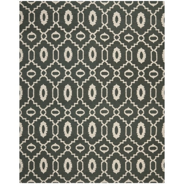 Safavieh Transitional Handwoven Moroccan Reversible Dhurrie Chocolate-Brown Wool Rug - 8' x 10'