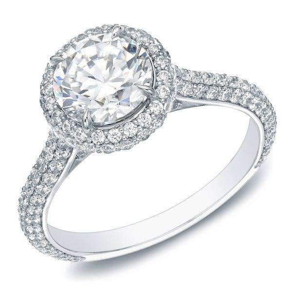 Auriya 14k Gold 2ct TDW Certified Round Pave Diamond Halo Engagement Ring