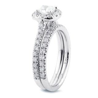 Auriya 14k Gold 1ct TDW Certified Cushion Diamond Halo Bridal Ring Set (H-I, SI1-SI2)